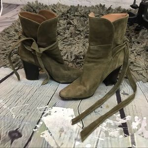 Olive suede Banana Republic strappy leather boots